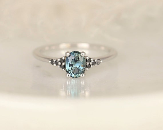 0.94ct Ready to Ship Maddy 14kt White Gold Teal Chrome Sapphire, Black Diamond Dainty Oval Cluster 3 Stone Ring,Rosados Box