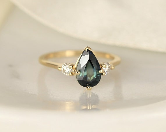 2.17ct Ready to Ship Greta 14kt Solid Gold Ocean Teal Sapphire Diamond Minimalist 3 Stone Pear Engagement Ring,Rosados Box