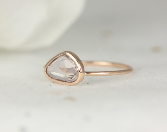 1.19ct Ready to Ship Donatella Jelly Bean 14kt Rose Gold Free Form Organic Slice Rose Cut Peach Sapphire Dainty Ring,Rosados Box