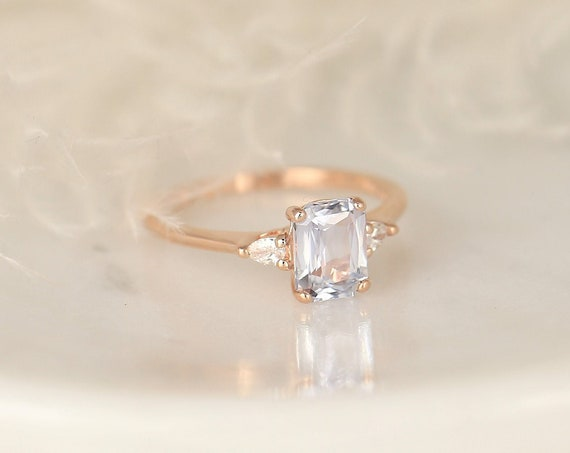 1.70ct Ready to Ship Petite Ellis 14kt Rose Gold Blush Peach Sapphire Diamond Minimalist 3 Stone Pear Cushion Engagement Ring,Rosados Box