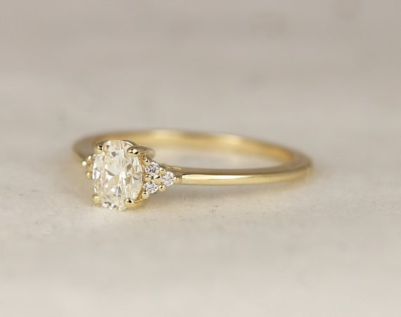 0.52ct Ready to Ship Juniper 14kt Yellow Gold Diamond Art Deco Dainty Oval Cluster 3 Stone Engagement Ring,Rosados Box