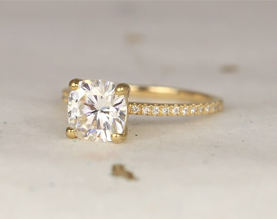 2ct Devora 7.5mm 14kt Solid Gold Forever One Moissanite Diamond Pave Dainty Cushion Solitaire Classic Engagement Ring,Rosados Box