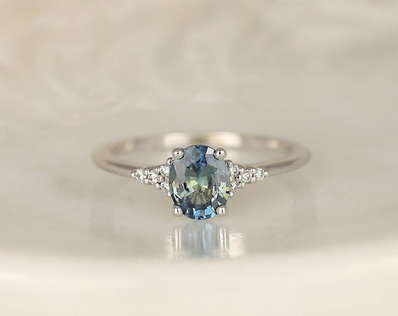 0.98ct Ready to Ship Maddy 14kt White Gold Ocean Teal Sapphire Diamond Dainty Oval Cluster 3 Stone Ring,Rosados Box