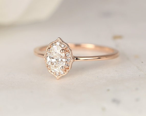 0.50ct Ready to Ship Mini Mae 14kt Rose Gold Diamond Dainty Art Deco Oval Halo WITH Milgrain Ring,Rosados Box