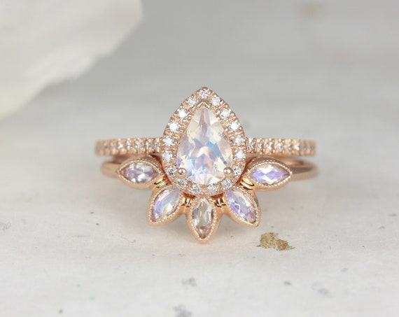 Tabitha 7x5mm & Petunia 14kt Rose Gold Rainbow Moonstone Diamonds Dainty Art Deco Micropave Pear Halo Wedding Set Rings,Rosados Box