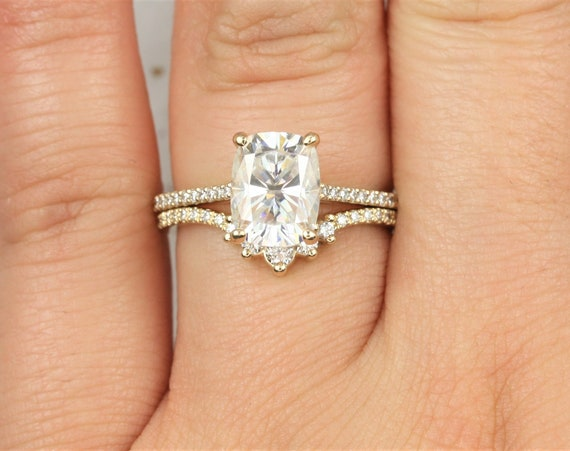 2.30cts Blair 9x7mm & Aldis 14kt Solid Gold Forever One Moissanite Diamonds Dainty Rectangle Cushion Unique Wedding Set Rings,Rosados Box