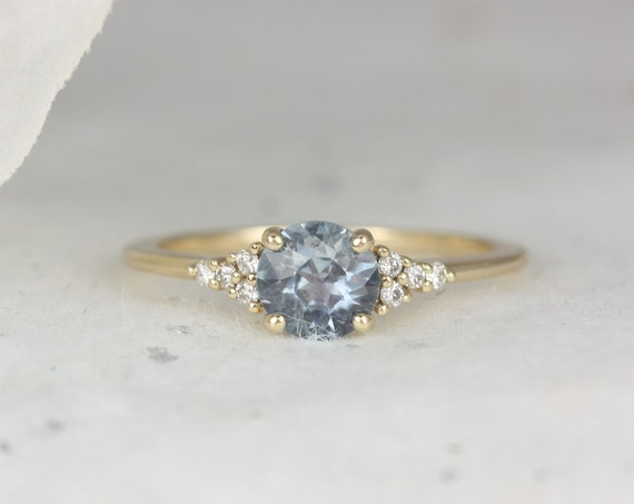 0.98ct Ready to Ship Malia 14kt Gold Cornflower Montana Sapphire Diamonds Dainty Round 3 Stone Cluster Ring,Rosados Box