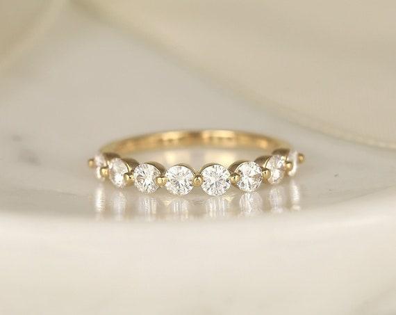 DIAMOND FREE Naomi 3.00mm 14kt Rose Gold Forever One Moissanite Dainty Minimalist HALFWAY Eternity Band Ring,Rosados Box