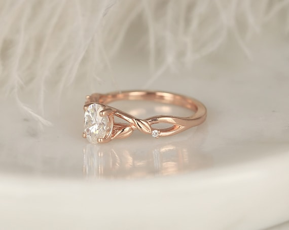 1ct Fern 7x5mm 14kt Rose Gold Forever One Moissanite Diamond Leaves Nature Art Deco Minimalist Oval Solitaire Engagement Ring,Rosados Box