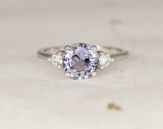 1.98ct Ready to Ship Colette 14kt White Gold Lilac Cornflower Blue Sapphire Diamond Minimalist 3 Stone Round Engagement Ring,Rosados Box