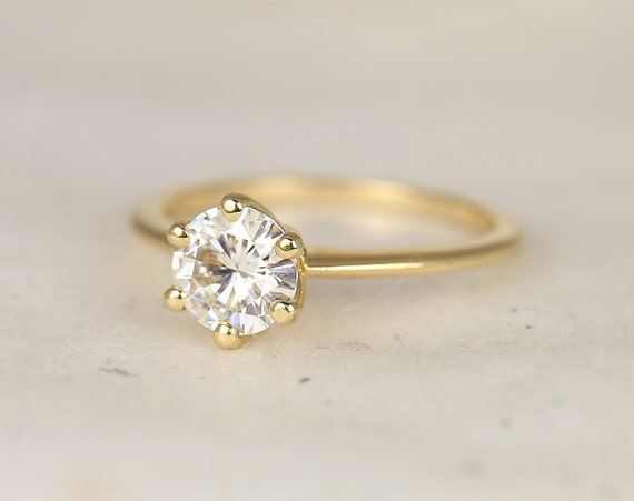 1ct Skinny Webster 6.5mm 14kt Solid Gold Forever One Moissanite Dainty 6 Prong Round Solitaire Engagement Ring,Rosados Box
