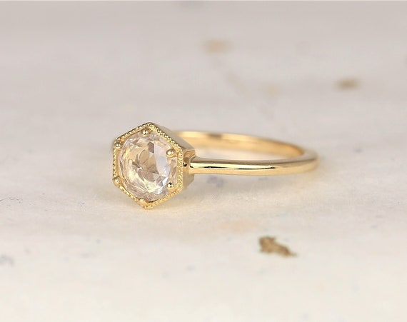 Irma 6mm 14kt Gold Rose Cut White Sapphire WITH Milgrain Dainty Bezel Art Deco Minimalist Hexagon Solitaire Ring,Rosados Box