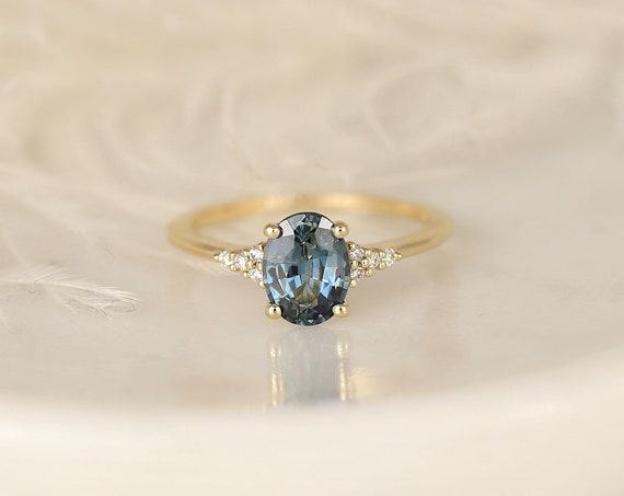 1.49ct Ready to Ship Maddy 14kt Gold Ocean Teal Sapphire Diamond Dainty Oval Cluster Ring,Rosados Box
