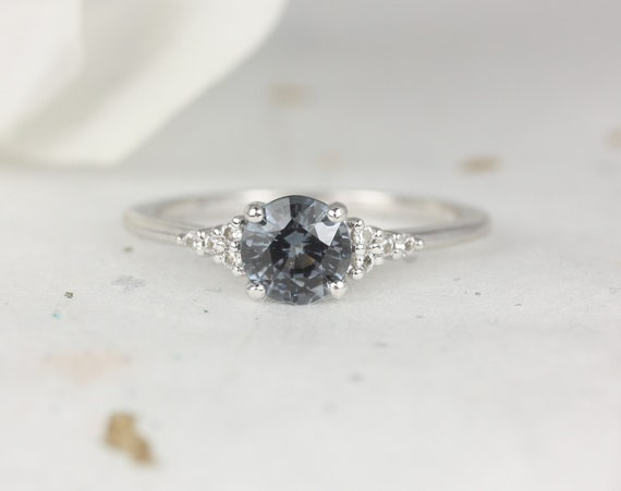 0.91ct Ready to Ship Malia 14kt White Gold Grunge Grey Purple Spinel Sapphire Dainty Round 3 Stone Cluster Ring,Rosados Box