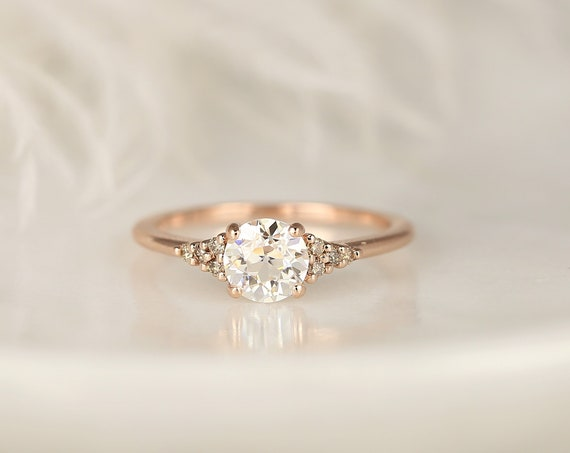 Malia 6mm 14kt Rose Gold OEC FB Moissanite Champagne Diamond Art Deco Dainty 3 Stone Dainty Cluster Ring,Rosados Box