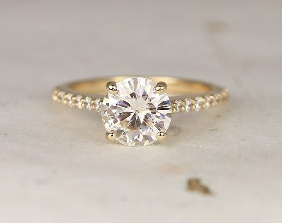 2ct Selma 8mm 14kt Solid Gold Forever One Moissanite Diamonds Cathedral Classic Pave Round Solitaire Engagement Ring,Rosados Box