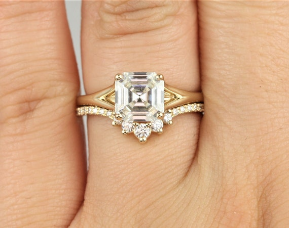 1.50cts Kenzie 7mm & Aldis 14kt Solid Gold Forever One Moissanite Split Heart Asscher Minimalist Solitaire Wedding Set Rings,Rosados Box