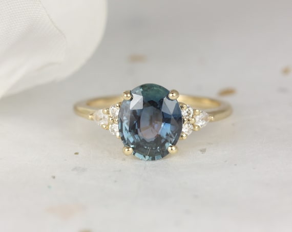 2.42ct Ready to Ship Cinderella 14kt Gold Ocean Teal Oval Sapphire Diamond Cluster 3 Stone Oval Engagement Ring,Rosados Box