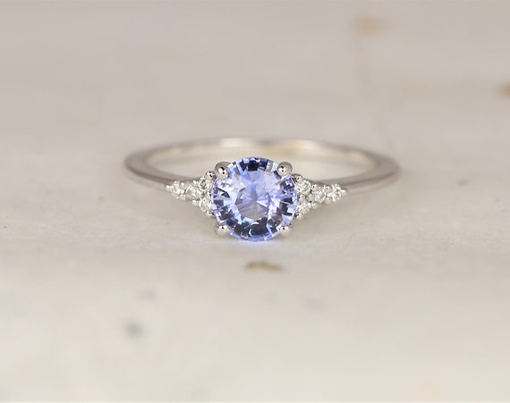 0.94ct Ready to Ship Malia 14kt White Gold Cornflower Lavender Sapphire Diamonds Dainty Round 3 Stone Cluster Ring,Rosados Box