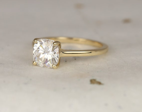 2ct Delta 7.5mm 14kt Solid Gold Forever One Moissanite Minimalist Dainty Cathedral Cushion Solitaire Engagement Ring,Rosados Box