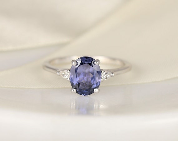 1.69cts Ready to Ship Petite Emery 14kt White Gold Indigo Purple Spinel Diamond Pear 3 Stone Oval Engagement Ring,Rosados Box