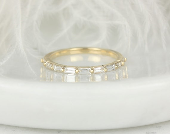 Blix 14kt Gold Baguette Diamond Minimalist Single Prong HALFWAY Eternity Band,Dainty Ring,Rosados Box