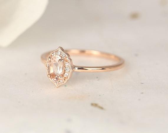 Mini Mae 6x4mm 14kt Gold Morganite Diamond Dainty Art Deco Unique Oval Halo WITH Milgrain Ring,Rosados Box
