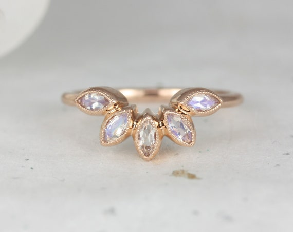 Petunia 14kt Rose Gold Marquise Rainbow Moonstone Art Deco WITH Milgrain Curved Tiara Nesting Wedding Ring,Rosados Box
