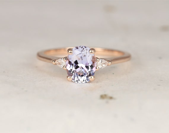 1.58cts Ready to Ship Petite Emery 14kt Rose Gold Cornflower Lavender Sapphire Diamond Pear 3 Stone Oval Engagement Ring,Rosados Box