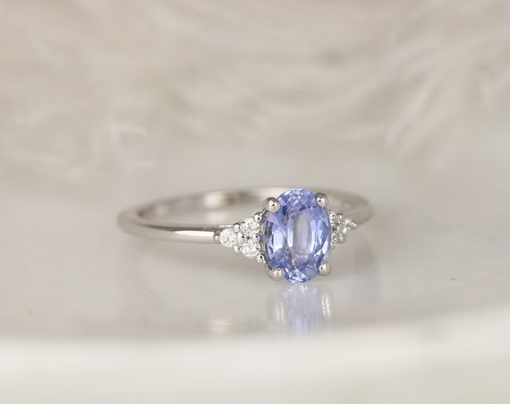 1.22ct Ready to Ship Juniper 14kt White Gold Cornflower Lavender Sapphire Diamond Dainty Oval Cluster 3 Stone Ring,Rosados Box