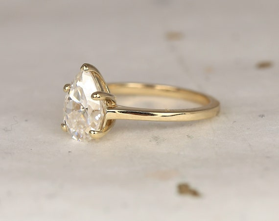 2ct Dallas 10x7mm 14kt Solid Gold Forever One Moissanite Minimalist Dainty Pear Solitaire Engagement Ring,Rosados Box