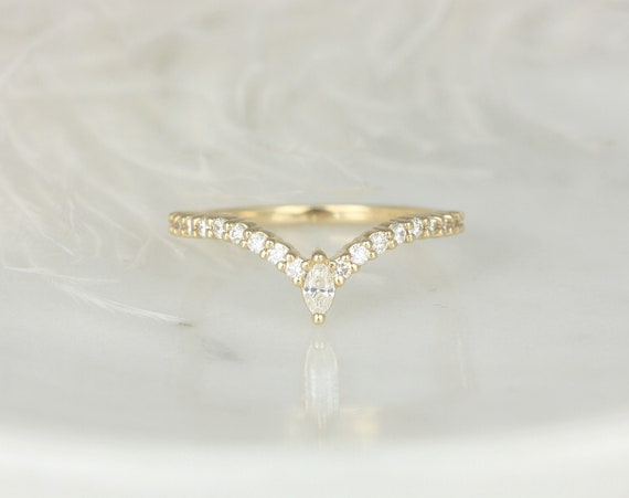 Kristen 14kt Gold Dainty Chevron Flair Pave Marquise Round Diamond V Ring, Unique Nesting Ring,Stacking RingRosados Box