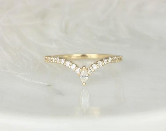 Kristen 14kt Gold Dainty Chevron Flair Pave Marquise Round Diamond V Ring, Unique Nesting Ring,Stacking RingRosados Box