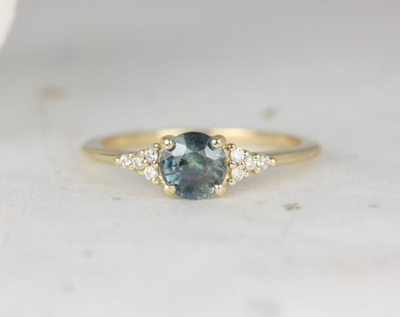 0.85ct Ready to Ship Malia 14kt Gold Ocean Teal Sapphire Diamonds Dainty Round 3 Stone Cluster Ring,Rosados Box