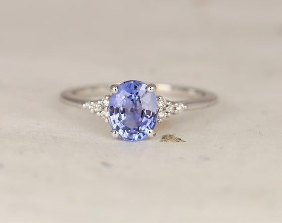 1.70ct Ready to Ship Maddy 14kt White Gold Cornflower Lavender Sapphire Diamond Dainty Oval Cluster 3 Stone Ring,Rosados Box