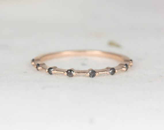 Boney 14kt Solid Rose Gold Black Petite Diamond Single Prong Floating Dainty Thin HALFWAY Eternity Distance Band Ring,Rosados Box