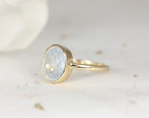 3.04cts Ready to Ship Galaxy 14kt Solid Gold Icy Frosted Aqua Blue Unique Sapphire Oval Bezel Ring,Rosados Box
