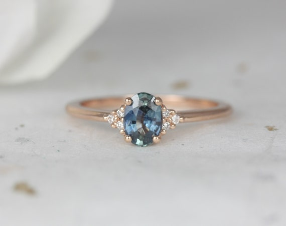 0.71ct Ready to Ship Juniper 14kt Rose Gold Ocean Blue Sapphire Diamond Dainty Oval Cluster 3 Stone Ring,Rosados Box