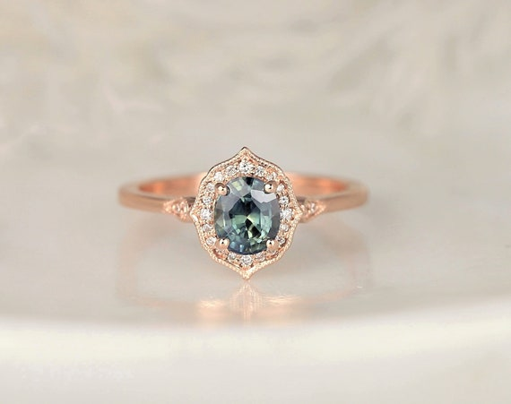 0.96ct Ready to Ship Mae 14kt Rose Gold Oval Jungle Teal Sapphire Diamond Unique Oval Halo WITH Milgrain Engagement Ring,Rosados Box