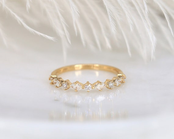 Petite Coraline 14kt Gold Marquise Round Diamond Dainty Floating Prong Minimalist Unique Vintage HALFWAY Eternity Ring,Rosados Box