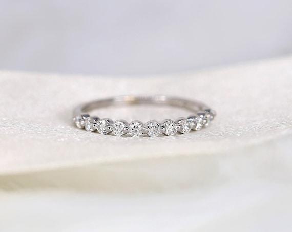DIAMOND FREE Naomi 2mm 14kt Rose Gold Forever One Moissanite Minimal HALFWAY Eternity Band,Single Prong Wedding Ring,Rosados Box
