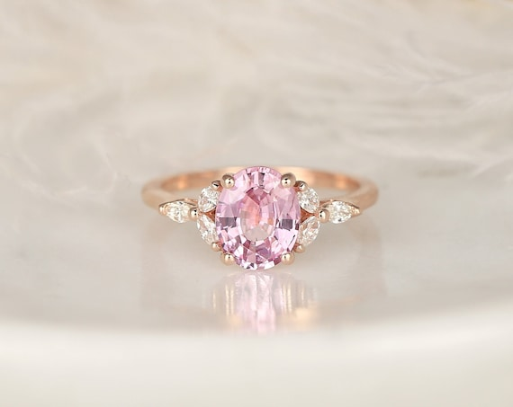 1.94ct Ready to Ship Genesis 14kt Rose Gold Blush Champagne Sapphire Diamond Marquise Dainty Oval Cluster 3 Stone Ring,Rosados Box