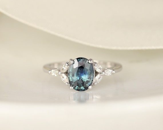 1.82ct Ready to Ship Genesis 14kt White Gold Jungle Peacock Teal Sapphire Diamond Marquise Dainty Oval Cluster 3 Stone Ring,Rosados Box