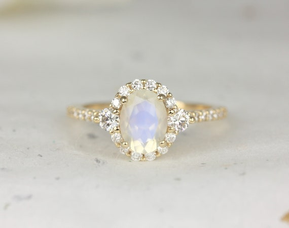 Bridgette 8x6mm 14kt Solid Gold Rainbow Moonstone Diamonds 3 Stone Unique Oval Halo Engagement Ring,Rosados Box
