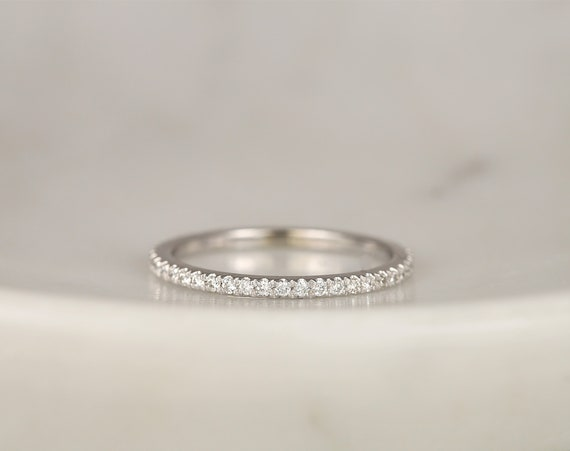 14kt Solid Gold Dainty Diamond French Pave Glitter Pave Matching Band to Viviana ALMOST Eternity Ring,Rosados Box