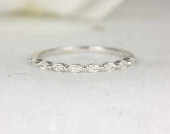 Ultra Petite Leona 14kt White Gold Marquise Forever One Moissanite  Floating Single Prong HALFWAY Eternity Band Ring,Rosados Box