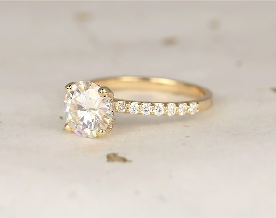 2ct Sabrina 8mm 14kt Solid Gold Forever One Moissanite Diamonds Scarf Halo Pave Round Solitaire Engagement Ring,Rosados Box