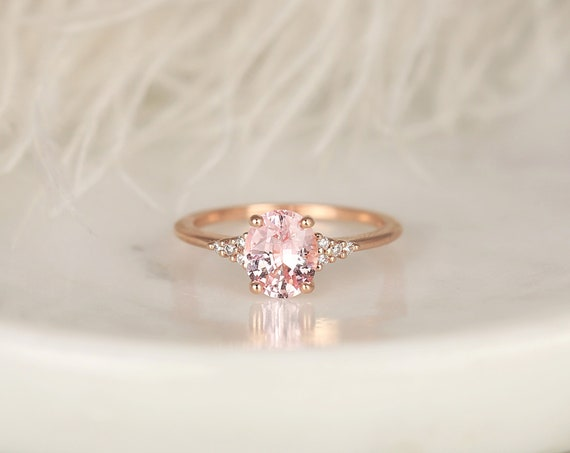 1.46cts Ready to Ship Maddy 14kt Rose Gold Blush Peach Sapphire Diamond Cluster 3 Stone Oval Engagement Ring,Rosados Box