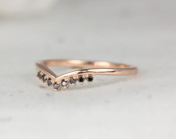 Lonnie 14kt Solid Rose Gold Dainty Thin Crown Tiara V Ring Chevron Black Diamond Stacking Ring,Rosados Box