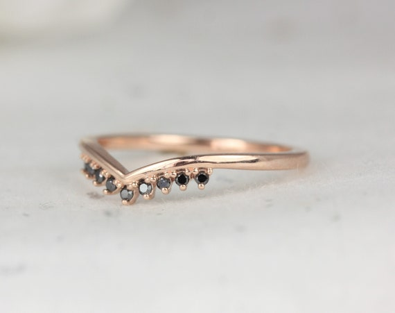 Lonnie 14kt Solid Rose Gold Dainty Thin Crown Tiara V Ring Chevron Black Diamond Stacking Ring,Rosados Box